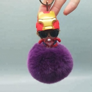 OEM cute doll rabbit fur key chain free samples