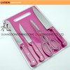 5pcs cheap rivet handle kitchen knife set with cutting board