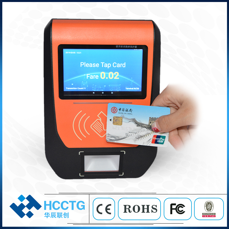 5 Inch TFT-LCD Automatic NFC Linux Ticket Terminal POS Machine Bus Validator With Qr Code Scanner P21A