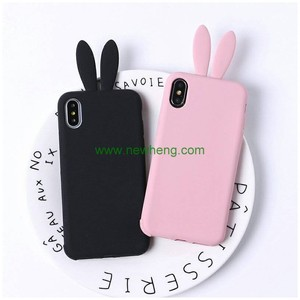 New Arrival Cartoon Rabbit Ear Fluff silicone soft phone case for iPhone X