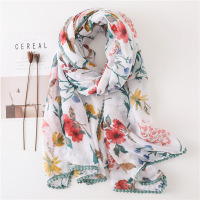 Fashion Women Floral Viscose Hijab Printed Scarf Wholesale