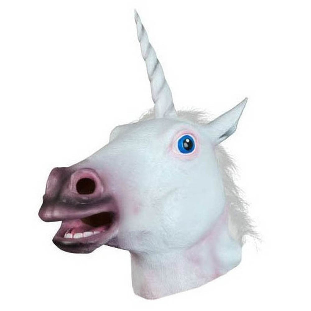 2aa5f5c7d70d Get Quotations · Halloween Unicorn Horse Head Cosplay Costume Party Latex  Prop Animal Masks & Fits All Costume Mask