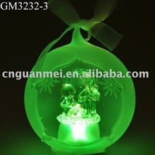 Wholesale hollow frosted hanging christmas ball with angel and LED light
