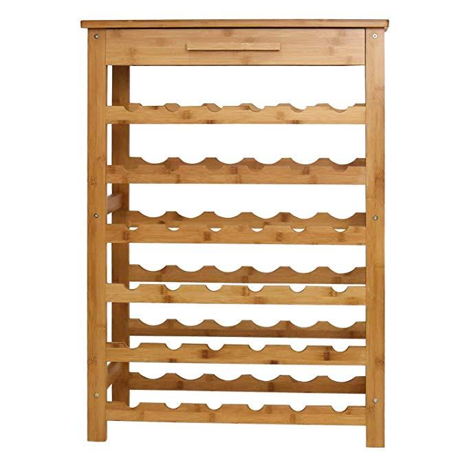 Bamboo-wine-wood-rack-standing-rack-storage