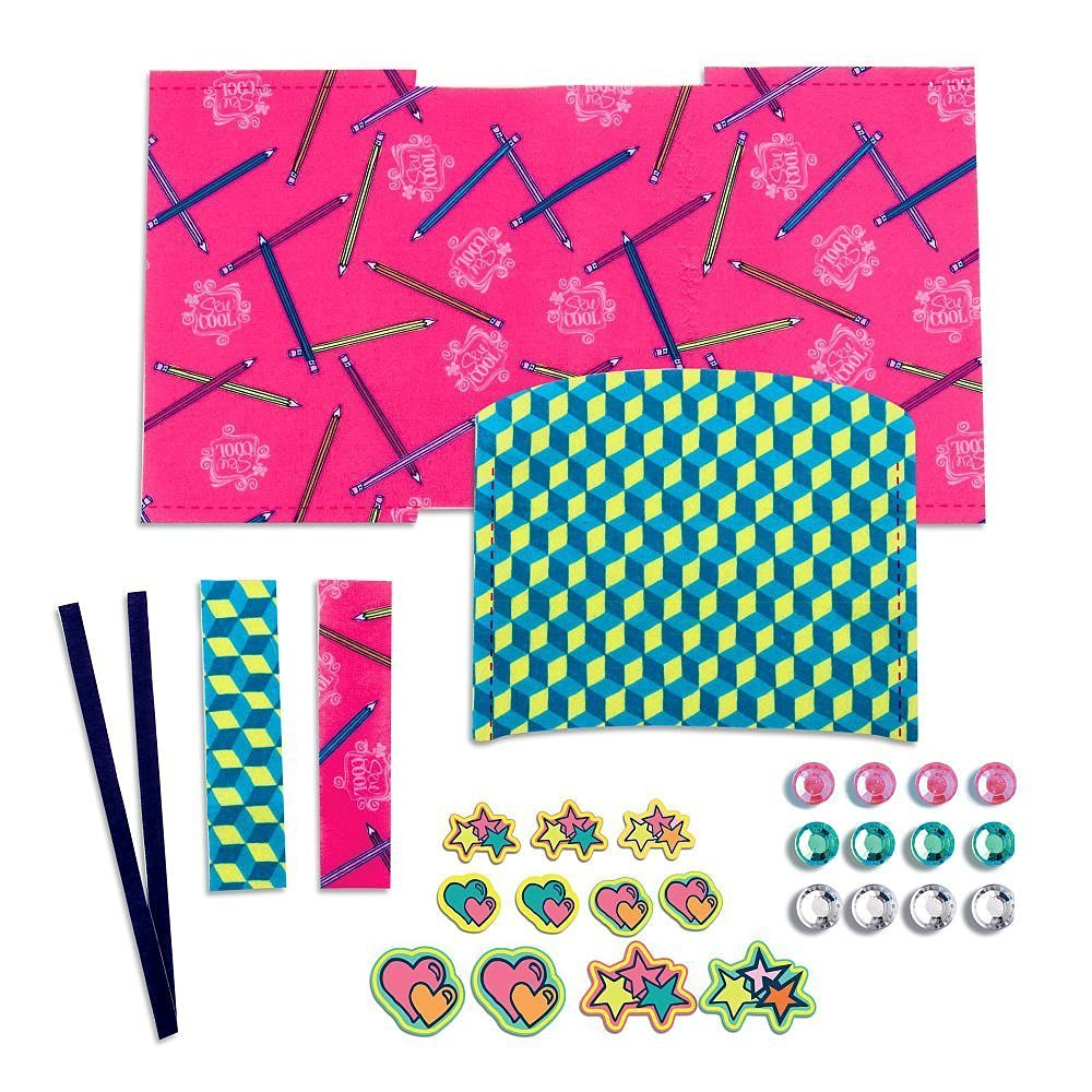 Diary Designs Kit with 4 Pre-Cut Projects, 11 Decorative Fabric Piece, 12 Gems & More