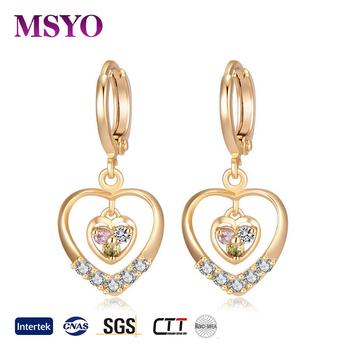 Msyo Brand Heart Shape Diamond Earring Dubai 24k Gold Jewelry