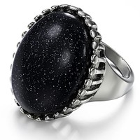 Marlary Jewelry 316L Stainless Steel Black Agate Rings Big Stone Ring Designs For Women