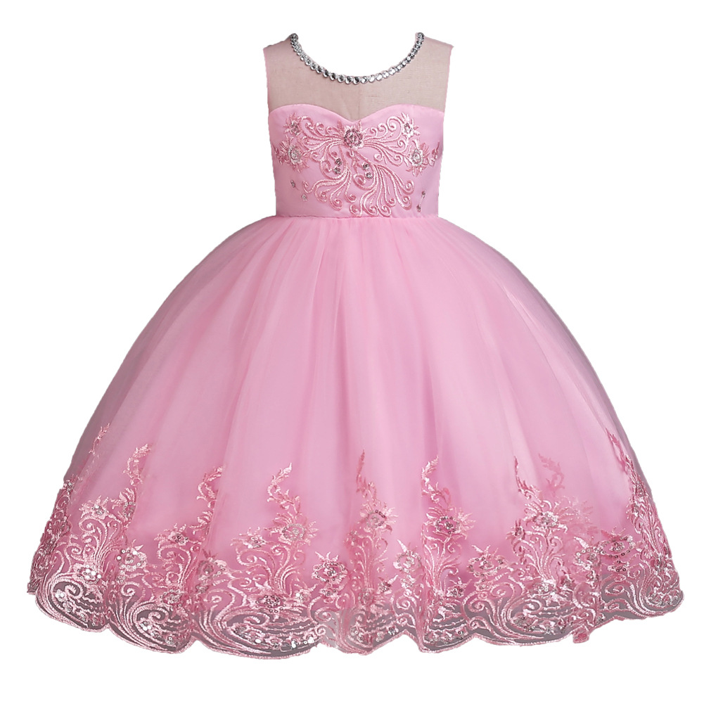 Elegant princess long wedding dress kids party formal dress flower girls dress