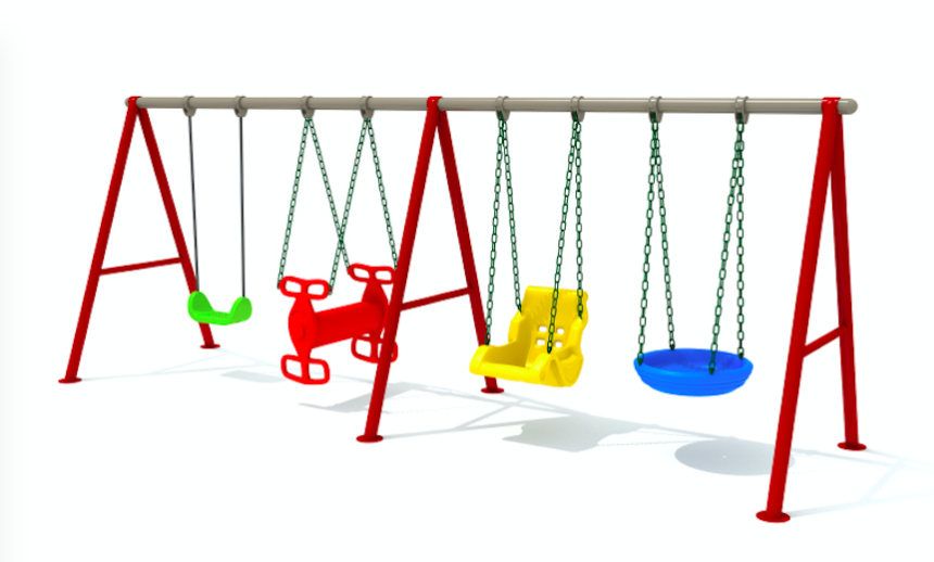 Amusement playground outdoor plastic swing and slide set slide and swing set