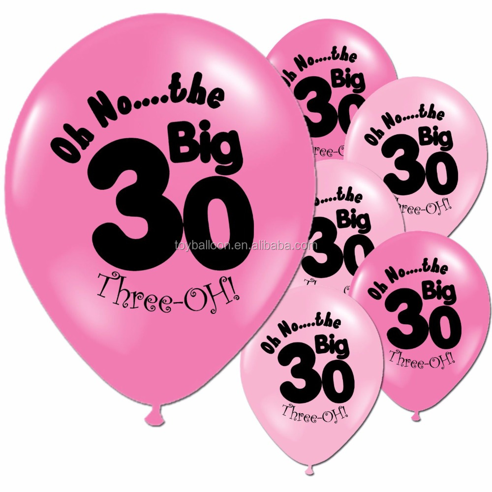 CYmylar 12 Pink 30th Birthday Balloons Latex Printed Balloon