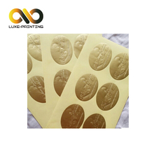 New arrival custom silver gold foil paper embossed logo label sticker