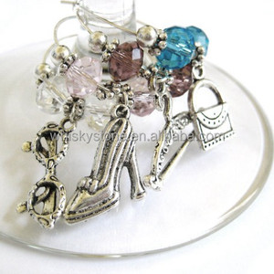 Luxury diamond metal Wine Charms Stemware Glasses Hostess Gift Christmas Xmas Wedding Valentine's Day Parties Holidays