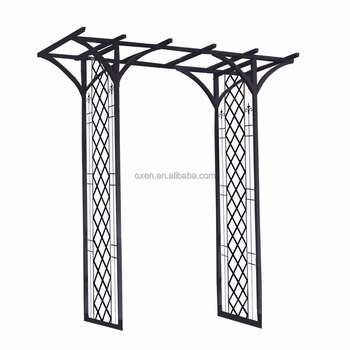 Outdoor Metal Garden Arch With Flat Top Frame Pergola