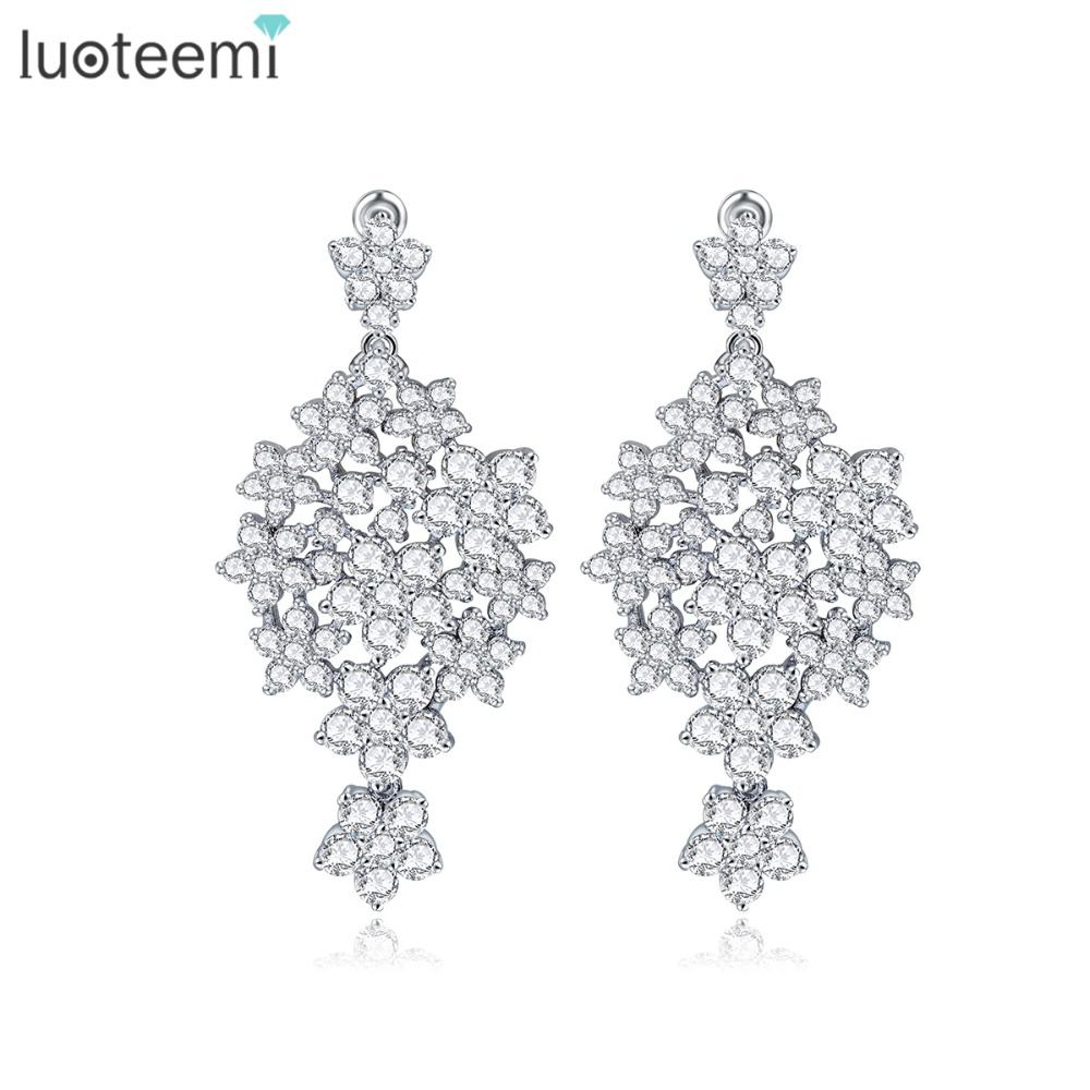 LUOTEEMI Wedding Jewelry Gift Brincos Bijoux Women New Design Sparkly Pure Round Crystal Zircon Paved Bridal Earrings Stud