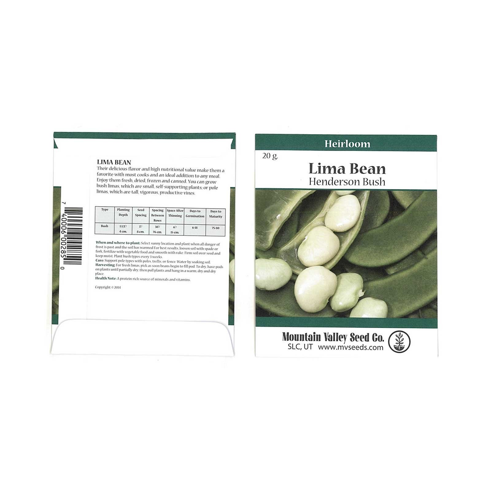 Henderson Lima Bean Seeds - 20 Gram Packet - Non-GMO, Heirloom - Vegetable Garden Seeds - Also Called: Butter, Chad, Pallar Beans