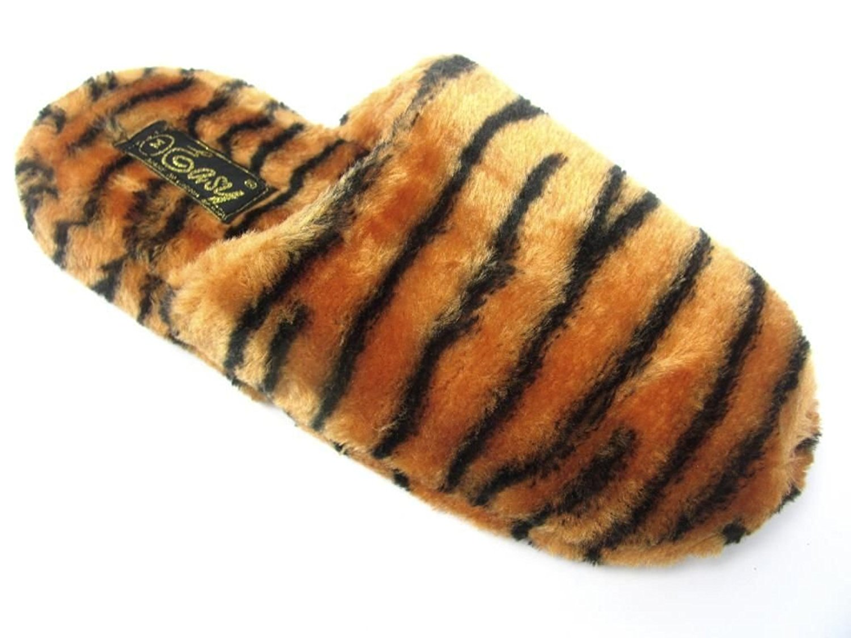 cded532f473 Womens Faux Fur Slip On Animal Print Scuff Slippers Leopard Tiger Zebra