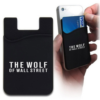 low price silicon mobile phone card holder,adhesive cell phone sticker credit card holder with customized LOGO