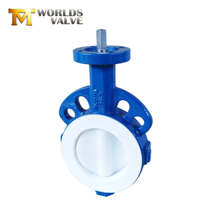 Creditable manual PTFE wafer lug bare shaft butterfly valve with butterfly valve seat ring