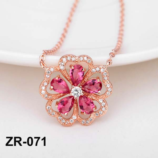 Red Corundum Necklace Pink Necklace Rose Gold Plating Flower Chain