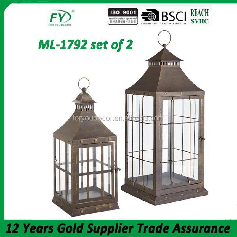 Craft stylish romantic wedding and party decoration metal hanging candle lantern ML-1792 set of 2