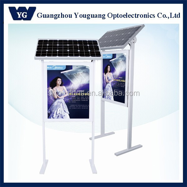 Customized solar power battery operated LED light box for outdoor advertising project