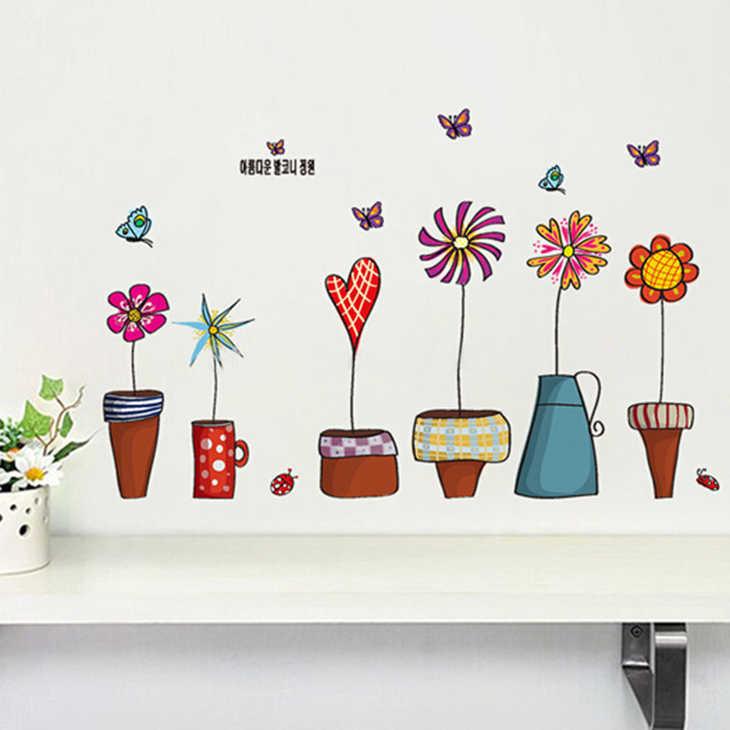 Warm Home Cartoon Flower Butterfly wall Stickers Beautiful Window glass Home Decor Decoration Removable art decals Free shipping