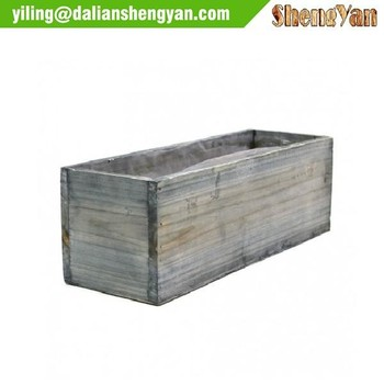 Rustic Whitewash Wood Planter Box With Plastic Liner Buy Planter