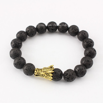 Brr1030 Lava Beaded Gold Dragon Head Bracelet Latest Fashion For Boys