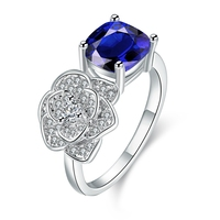 Ajojewel New Fashion Simple Ring Micro Pave AAA Cubic Zircon Flower & Red / Blue Square Rings For Women Bijoux Femme