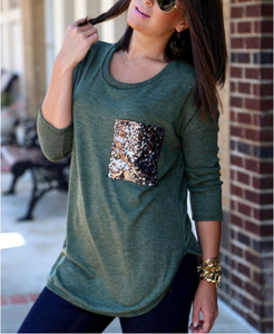 Women's Casual Fashion Sequins Pocket T Shirt