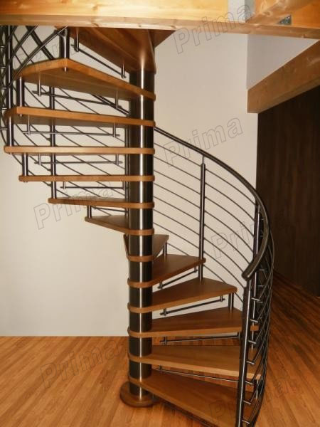 Steel Wood Spiral Staircase Glass Railing Internal Round
