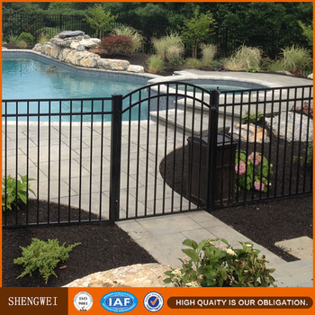 Flat Top Picket Steel Fence For Swimming Pool Buy Black