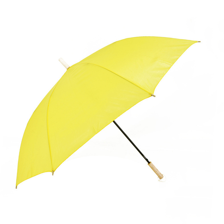 23 Inch Yellow Custom Logo Printing Umbrella Wooden Handle