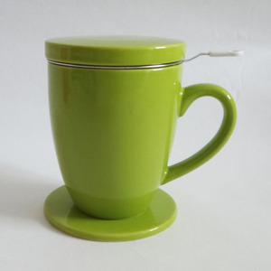 Eco 13 oz green color glaze ceramic tea infuser mug with lid N0010