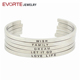 Wholesale Silver Stainless Steel Metal Engraved Inspirational Mantra Bracelets Bangle