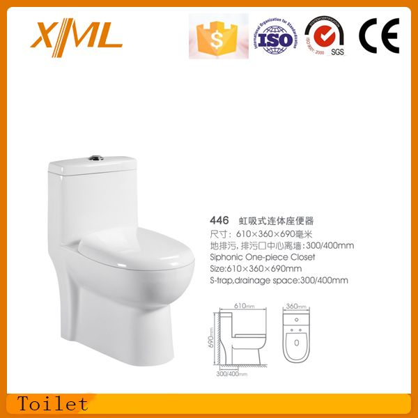 New-design one piece toilet with seat soft cover big size siphonic colset
