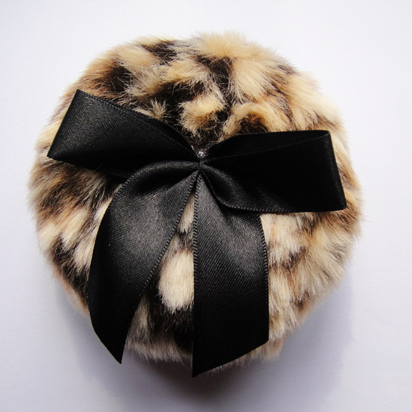 Black Round Shape Powder Puff with Bowknot baby powder puff makeup puff