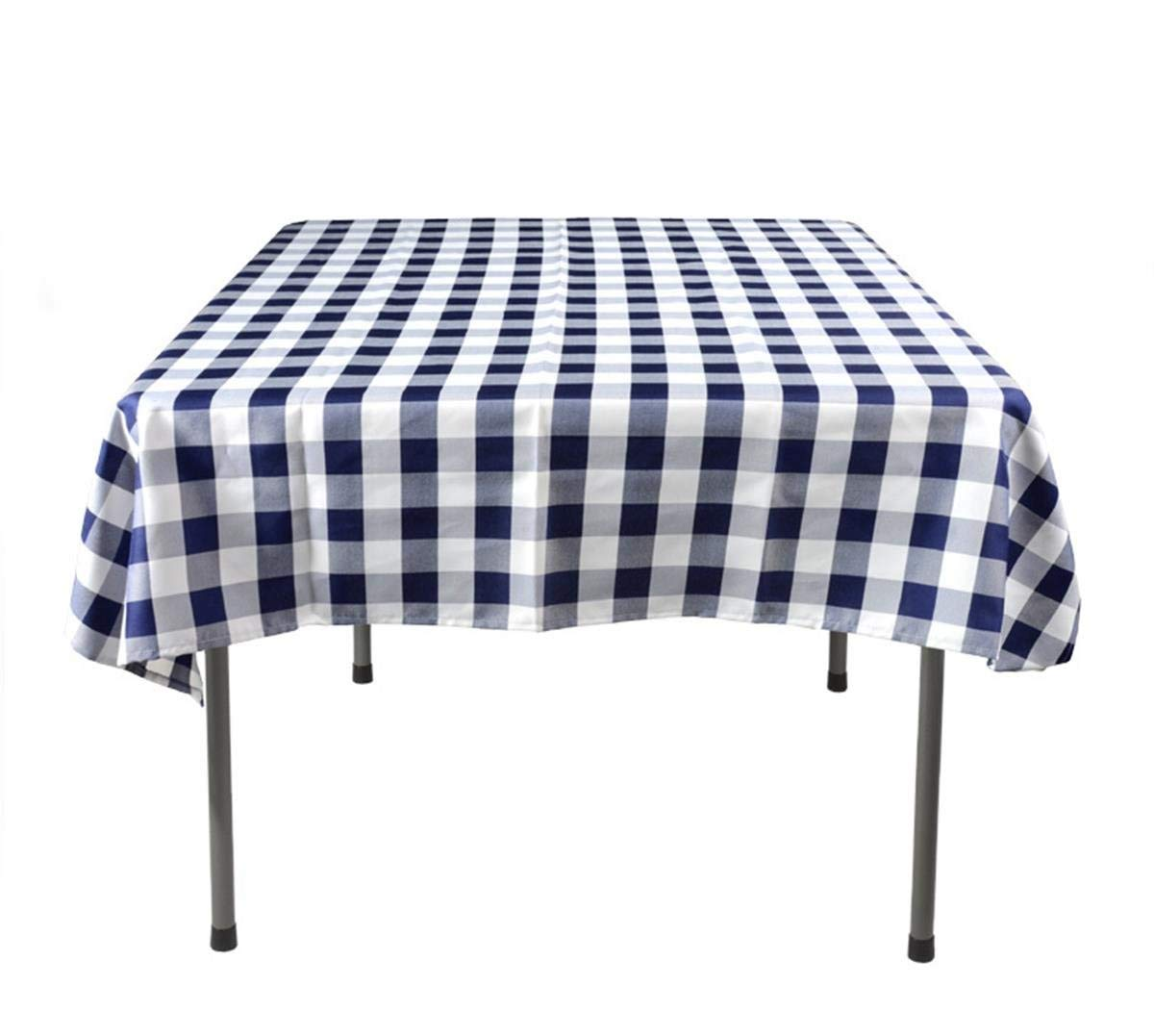Displays2go Checkered Tablecloths, 100% Polyester, 54-inch Square Table Covers for 3-foot Tables - Sold in Sets of 5