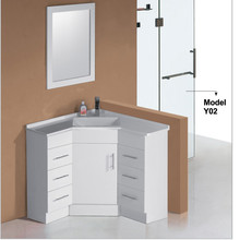 White lacquer modern 30 inch bathroom vanity with drawers