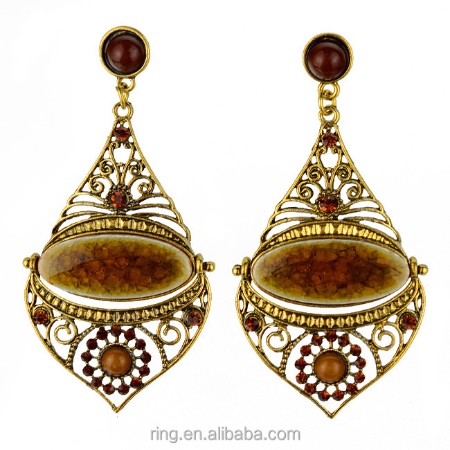 Fashion ethnic style water drop shaped resin alloy bali jewelry earring