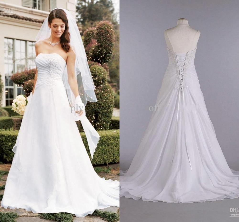 Garden Wedding Gowns: White Chiffon Romantic Wedding Dresses Plus Size Bridal