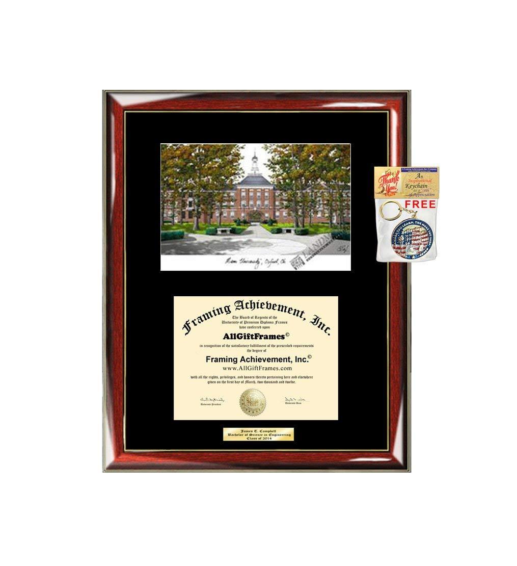 Miami University of Ohio Diploma Frame Lithograph Premium Wood Glossy Prestige Mahogany with Gold Accents Single Black Matted University Graduation Diploma Frame