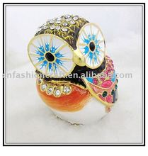 2012 New coming Golden plated Enamel Pewter Alloy Owl design decorative box