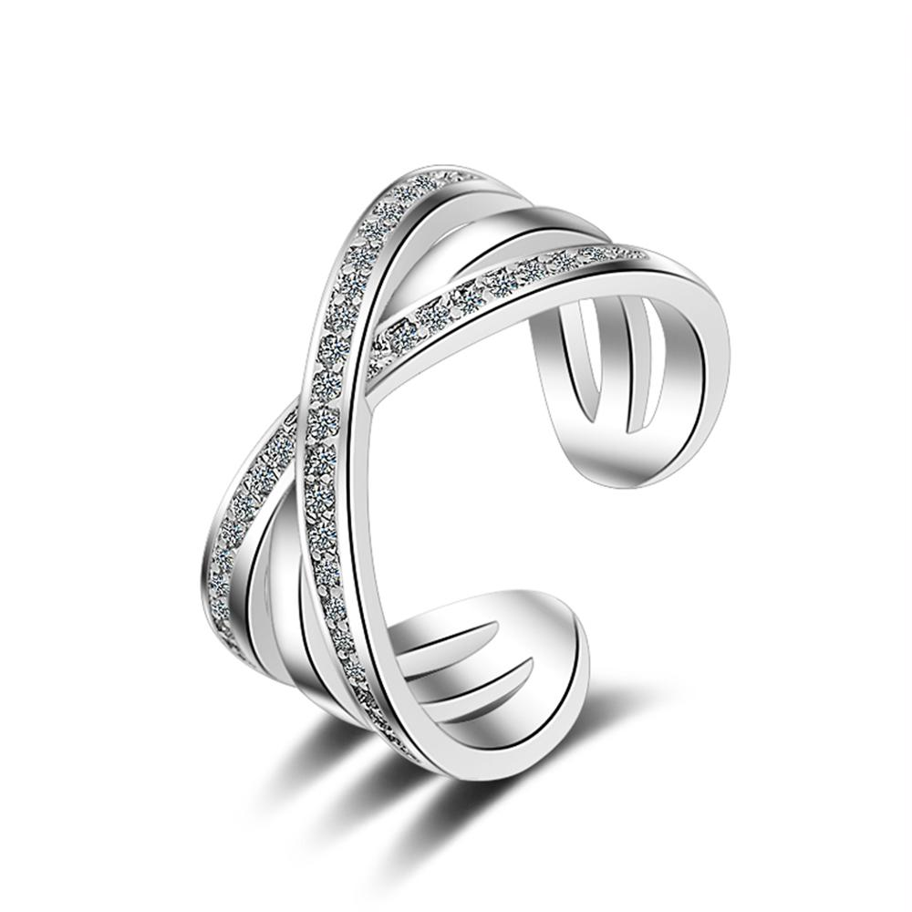 Charm Knot Heart Ring 925 Silver Adjustable Open Ring For Girls Christmas Gift