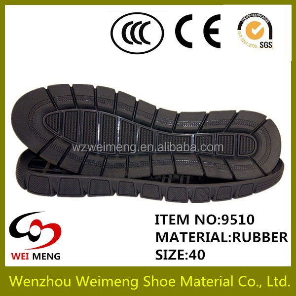 Wenzhou durable non slip mens casual soft rubber shoe sole material