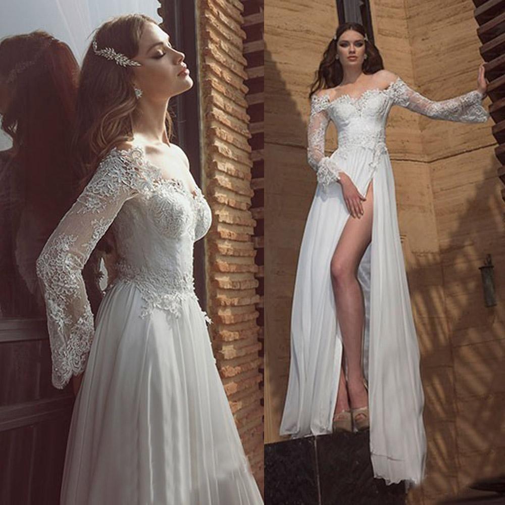 2015 New Arrival Long Sleeve Lace Wedding Dresses Beach ...