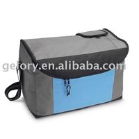 Two-tone insulated bag for food Durable Polyester lunch bag zip top closure shoulder strape