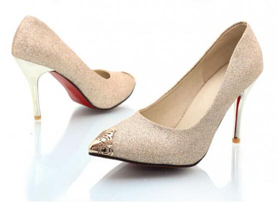 fa0567e5cc6 Get Quotations · 2015 women s shoes fashion sexy high heels Gold silver  black diamond wedding shoes