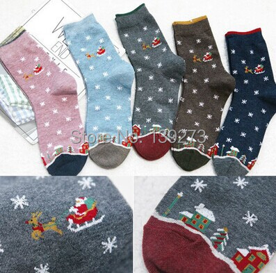 Кики новый флэш-санта-клаус в упряжках-размер сокс осень зима юго-корейски женская мода хлопок трубка носки meias soks