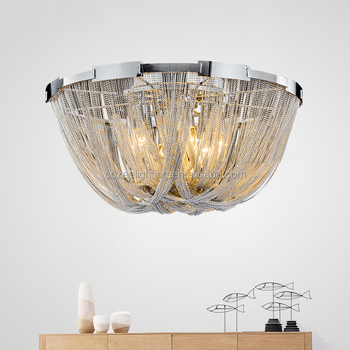 Aluminum Chain Tassel Chandelier Lighting Flush Mount Ceiling ...